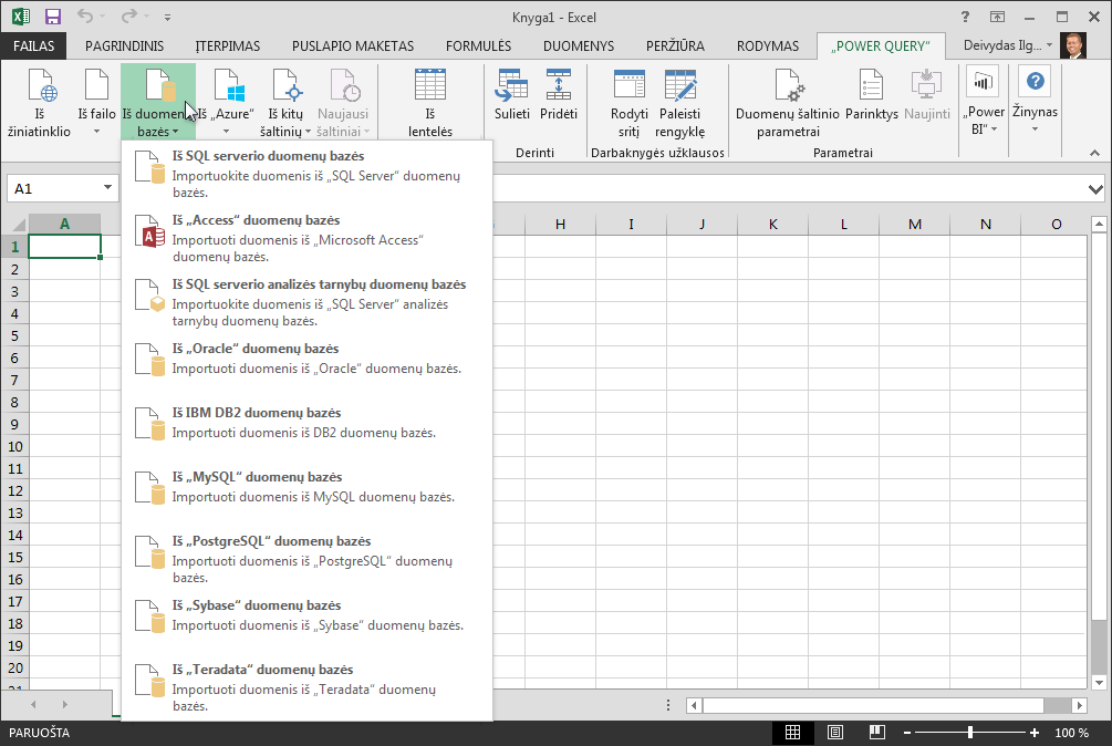 Išorinių duomenų gavimas iš duomenų bazės