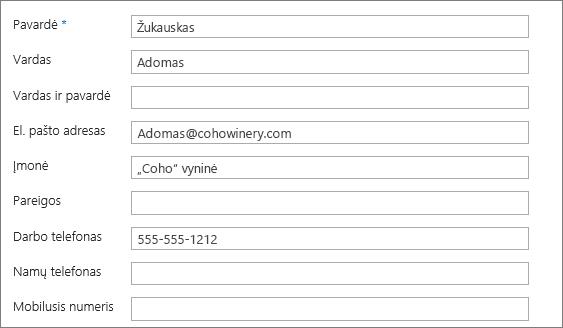 Įveskite informaciją kontaktų formoje.