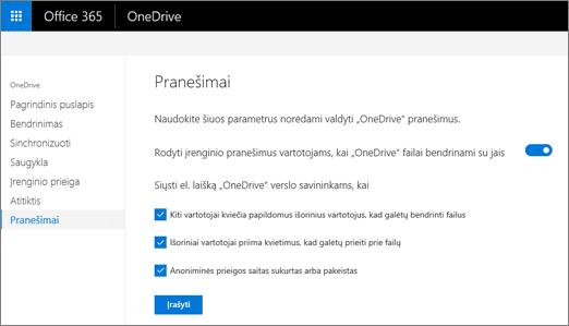 """Skirtuką pranešimus iš """"OneDrive"""" administravimo centrą"""
