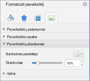 Spalvų skaidrumo koregavimas srityje paveikslėlio formatavimas