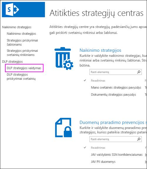 Strategijos užduotis, svetainių rinkinių parinktis