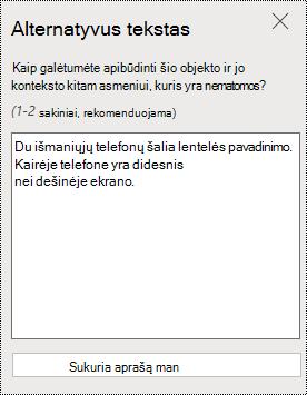 """Alternatyviojo teksto dialogo langas programoje """"PowerPoint Online""""."""