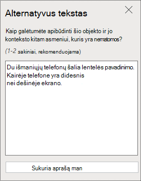 """PowerPoint Online"" dialogo langas Alternatyvusis tekstas."