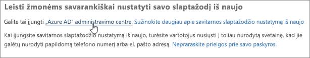 """Pasirinkite saitą į """"Azure"""" administravimo centrą."""