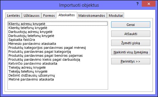 """Dialogo langas Importuoti objektus """"Access"""" duomenų bazėje"""
