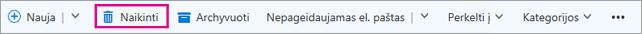 """""""Outlook"""" juostelės mygtukas Naikinti"""