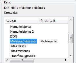 "Mob. tel. priskirtas laukui ""Outlook"" mobilusis telefonas"