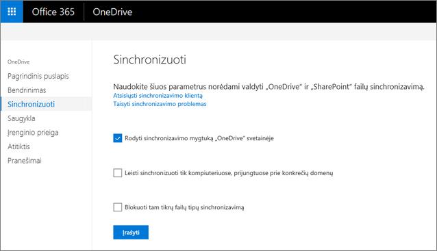 """""""OneDrive"""" administravimo centro skirtukas Sinchronizavimas"""