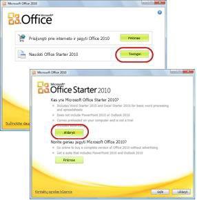"""Pirmas kartas, kai naudojate """"Office Starter"""""""
