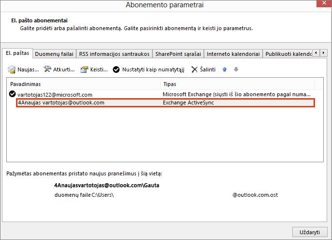 """Outlook"" paskyros parametrai, el. pašto parametrai"