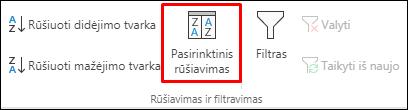 """""""Excel"""" pasirinktinio rūšiavimo parinktys skirtuke Duomenys"""