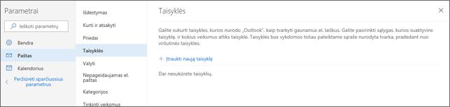 """Ekrano nuotrauka, kurioje rodomas taisyklių puslapis """"Outlook.com"""" parametrų dalyje """"Paštas""""."""
