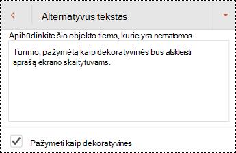 """Pažymėti kaip dekoratyvinės pasirinktą alternatyvus tekstas dialogo lange """"PowerPoint"""" skirta """"Android""""."""