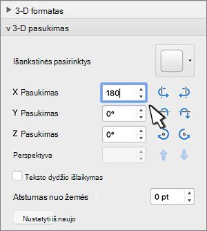 3D pasukimas sekcija su pasirinktu X pasukimas