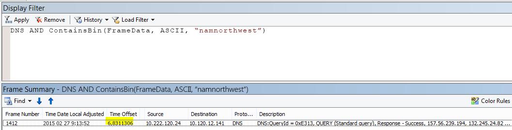 """Papildomi """"Netmon"""" rezultatai filtruojami su DNS AND CONTAINSBIN(Framedata, ASCII, """"namnorthwest""""), rodomas labai mažas laiko poslinkis tarp užklausos ir atsakymo."""