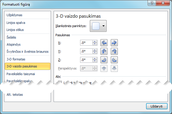 Dialogo lango Figūros formatavimas 3-D vaizdo pasukimo parinktys