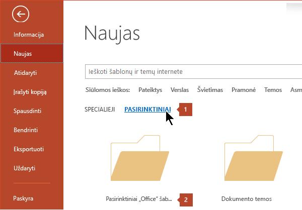 """Dalyje failas > naujas spustelėkite pasirinktinai, tada – """"Office"""" šablonai."""
