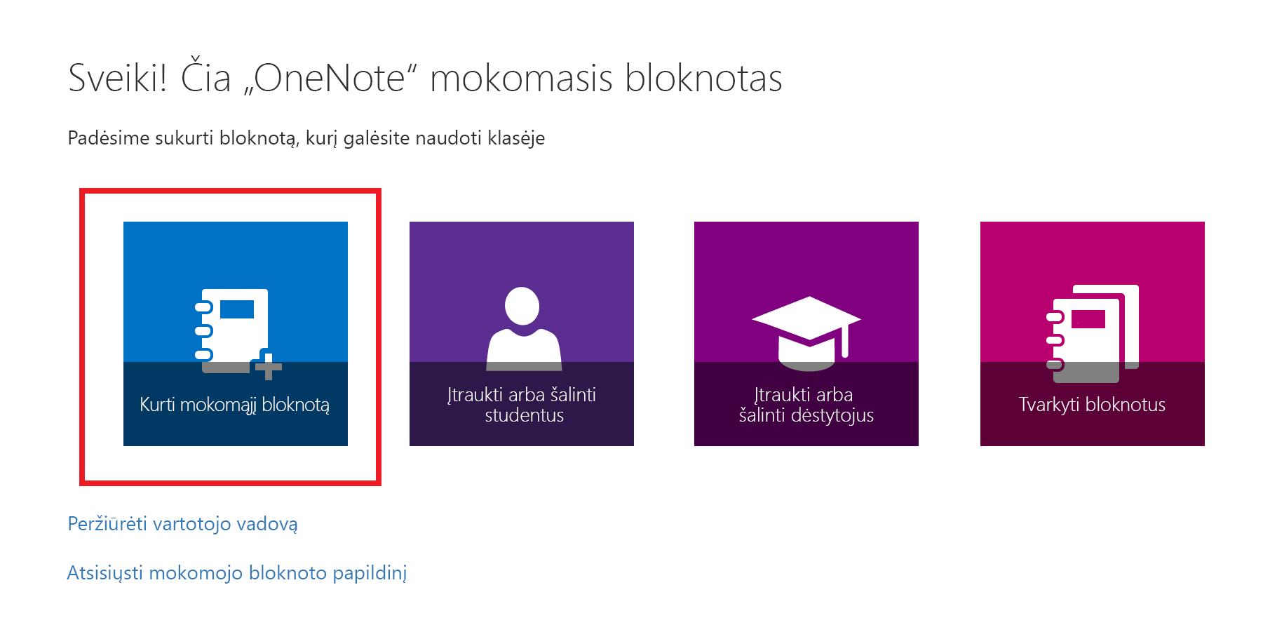 Mokomųjų bloknotų programos pasveikinimo puslapio ekrano nuotrauka.
