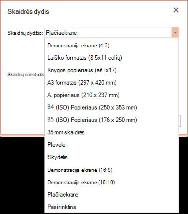 """Skaidrės dydžio parinktys programoje """"PowerPoint Online"""""""