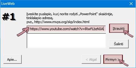 Įklijuokite vaizdo įrašo, kurį norite įterpti, HTTPS adresą