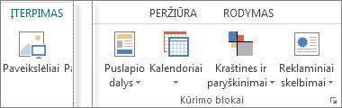 """""""Publisher"""" skirtuko Įterpimas grupės Kūrimo blokai ekrano nuotrauka."""