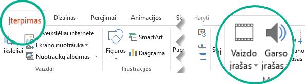 """Skirtuke Įterpti, """"PowerPoint"""" įrankių juostoje pasirinkite Garso įrašas arba Vaizdo įrašas"""