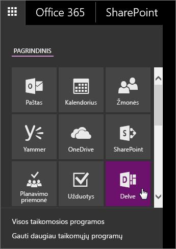 """""""Office 365"""" programų srities su aktyvia """"Delve"""" plytele ekrano nuotrauka."""