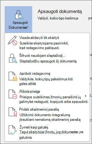 """Meniu apsaugoti dokumentą programoje """"Word"""", """"Office 365"""""""