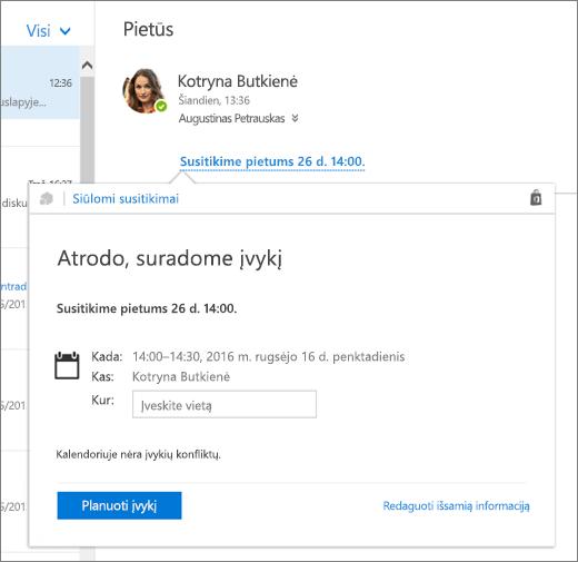 El. laiško su tekstu apie susitikimą ir siūlomų susitikimų kortelės su išsamia susitikimo informacija ir įvykio planavimo bei jo informacijos redagavimo parinktimis ekrano kopija.