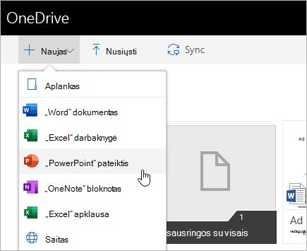 """Failų kūrimas naudojant """"OneDrive"""" verslui"""