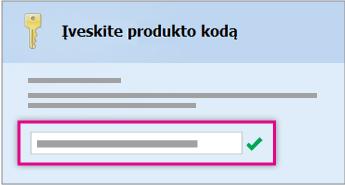 Įveskite produkto kodą