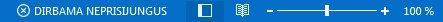 Outlook būsenos juostos indikatorius Dirbama neprisijungus
