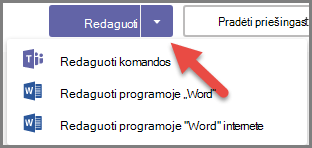 Mygtukas redaguoti su išplėstais parinktimis ir rodykle, nukreipta į išplečiamąjį mygtuką