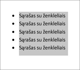 Pažymėtas sąrašo su ženkleliais tekstas