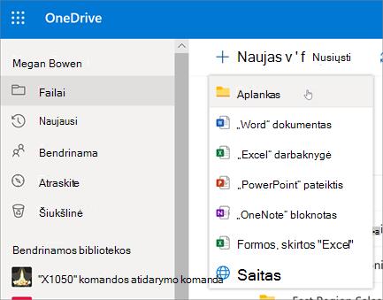 """""""OneDrive"""" aplanko sukūrimas"""
