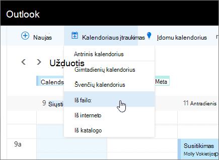 Ekrano įtraukti kalendorių sąrašas su iš pasirinkto failo.