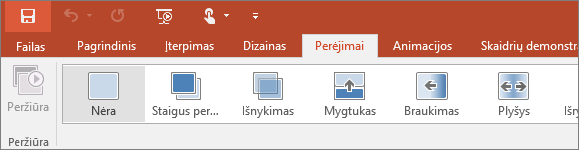 """Programoje """"PowerPoint"""" juostelėje rodomas skirtukas Perėjimai"""