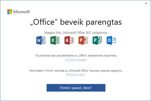 """Rodomas puslapis """"Office"""" beveik parengtas"""", kuriame sutinkate su licencijos sutarties sąlygomis ir paleidžiate programą"""