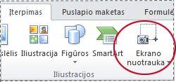 Mygtukas Ekrano nuotrauka