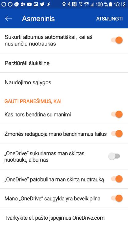 """Eikite į """"OneDrive"""" pranešimų parametrų nustatymas """"Android"""" programėlės parametrus."""
