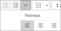 """Lygiuoti pastraipų kairėje programoje """"OneNote"""", skirtoje programai """"Windows 10"""""""