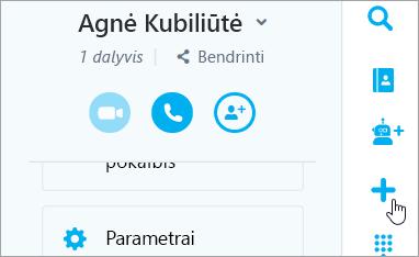 Mygtuko Naujas pokalbis ekrano nuotrauka.