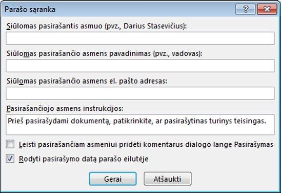Dialogo langas Parašo sąranka