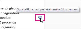 """Spustelėkite ir peržiūrėkite komentarus """"Word Online"""""""
