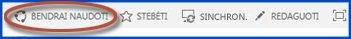 Komandos svetainės valdymo mygtuku ekrano kopija. Apvestas mygtukas Bendrinti