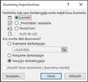 """Dialogo langas duomenų importavimas iš """"Excel 2016"""""""