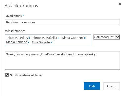 """Dialogo langas, kuriame galite išvardyti žmonių, su kuriais norite bendrinti """"OneDrive"""" verslui aplanką, el. pašto adresus."""