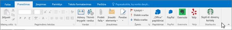 """""""Outlook"""" juostelės su įvesties vieta, skirtuke pranešimas, kai žymiklis nukreipimo priedų pačioje kairėje pusėje ekrano. Šiame pavyzdyje – priedai yra papildiniai, PayPal, Evernote, Yelp ir Starbucks."""