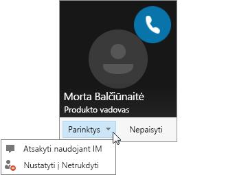 Ekrano nuotrauka, vaizduojanti pranešimą apie skambutį su atidarytu meniu Parinktys.