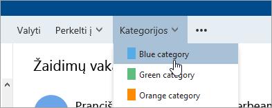 Ekrano nuotrauka mygtuką kategorijos